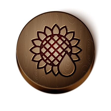 Brown line Sunflower icon isolated on white background. Wooden circle button. Vector Illustration