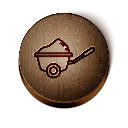 Brown line Wheelbarrow with dirt icon isolated on white background. Tool equipment. Agriculture cart wheel farm. Wooden circle button. Vector Illustration