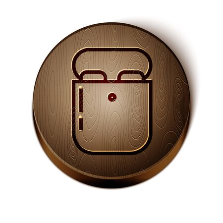 Brown line Air headphones in box icon icon isolated on white background. Holder wireless in case earphones garniture electronic gadget. Wooden circle button. Vector Illustration