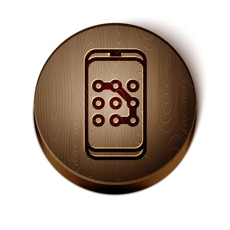 Brown line Mobile phone and graphic password protection icon isolated on white background. Security, safety, personal access, user authorization. Wooden circle button. Vector Illustration