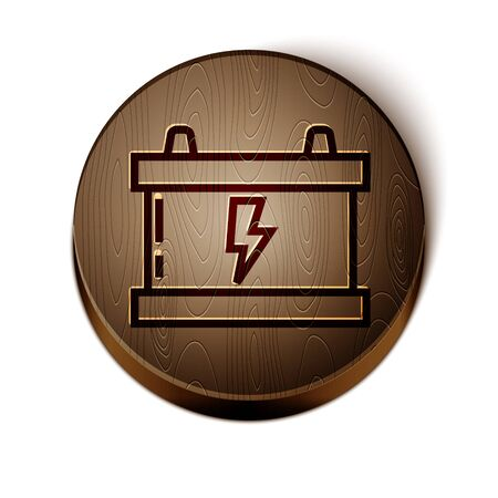 Brown line Car battery icon isolated on white background. Accumulator battery energy power and electricity accumulator battery. Lightning bolt. Wooden circle button. Vector Illustration