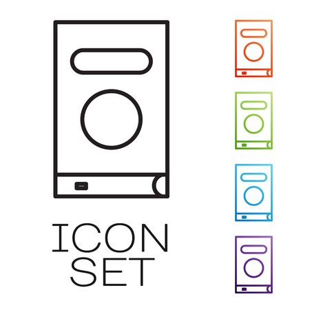 Black line Book icon isolated on white background. Set icons colorful. Vector Illustration