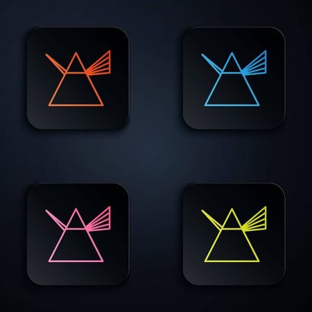 Color neon line Light rays in prism icon isolated on black background. Ray rainbow spectrum dispersion optical effect in glass prism. Set icons in colorful square buttons. Vector Illustration