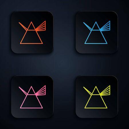 Farbneonlinie Lichtstrahlen im Prisma-Symbol auf schwarzem Hintergrund isoliert. Optischer Effekt der Ray-Regenbogen-Spektrum-Dispersion im Glasprisma. Stellen Sie Ikonen in den bunten quadratischen Knöpfen ein. Vektorillustration