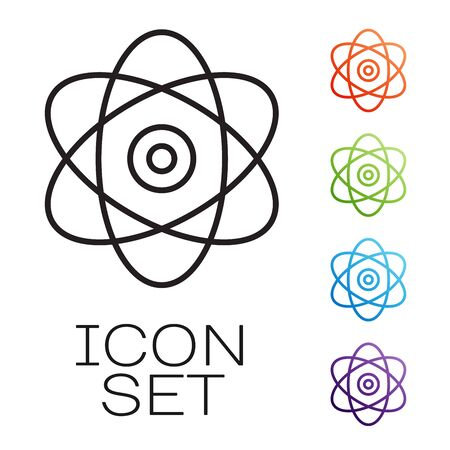 Black line Atom icon isolated on white background. Symbol of science, education, nuclear physics, scientific research. Electrons and protons sign. Set icons colorful. Vector Illustration