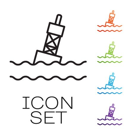 Black line Floating buoy on the sea icon isolated on white background. Set icons colorful. Vector Illustration