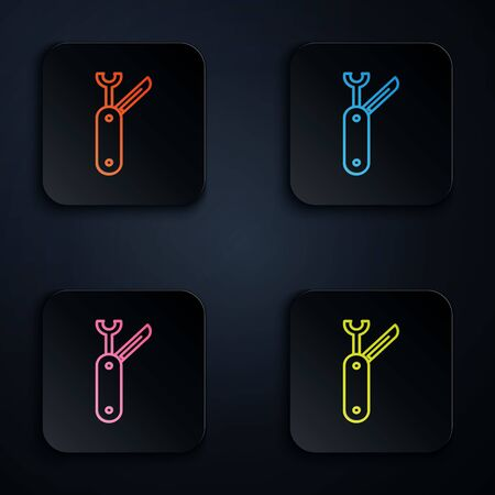 Color neon line Swiss army knife icon isolated on black background. Multi-tool, multipurpose penknife. Multifunctional tool. Set icons in colorful square buttons. Vector Illustration Ilustração