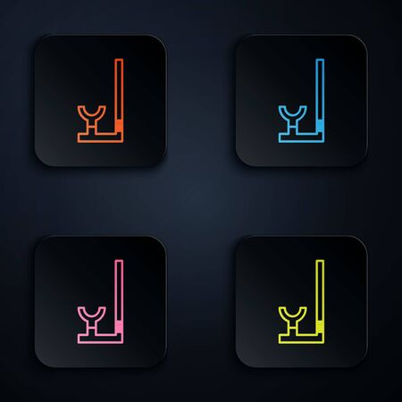 Color neon line Snorkel icon isolated on black background. Diving underwater equipment. Set icons in colorful square buttons. Vector Illustration