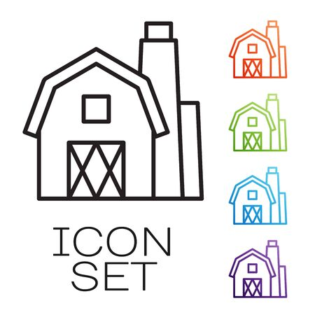 Black line Farm House concept icon isolated on white background. Rustic farm landscape. Set icons colorful. Vector Illustration