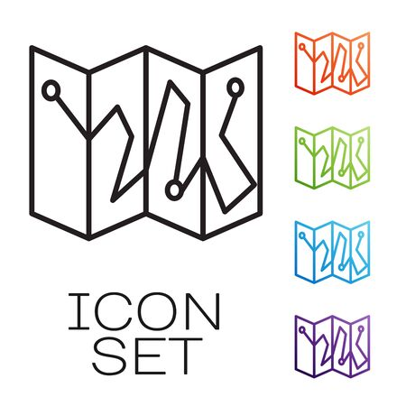 Black line Folded map with location marker icon isolated on white background. Set icons colorful. Vector Illustration Ilustração Vetorial