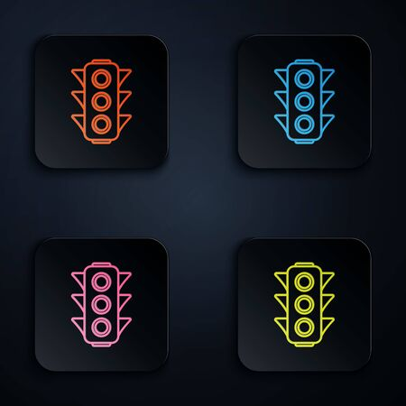 Color neon line Traffic light icon on black background. Set icons in colorful square buttons. Vector Illustration