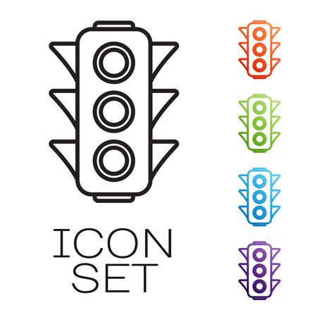 Black line Traffic light icon isolated on white background. Set icons colorful. Vector Illustration
