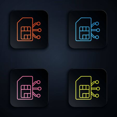 Color neon line Sim card icon isolated on black background. Mobile cellular phone sim card chip. Mobile telecommunications technology symbol. Set icons in colorful square buttons. Vector Illustration