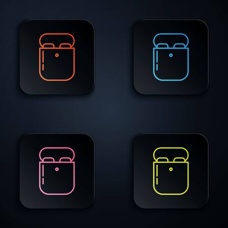 Color neon line Air headphones in box icon icon isolated on black background. Holder wireless in case earphones garniture electronic gadget. Set icons in colorful square buttons. Vector Illustration