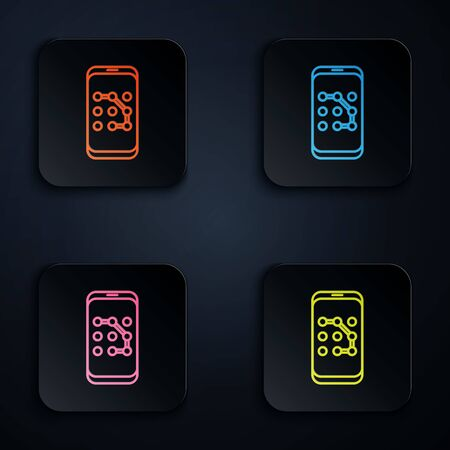 Color neon line Mobile phone and graphic password protection icon on black background. Security, safety, personal access, user authorization. Set icons in colorful square buttons. Vector Illustration Vettoriali