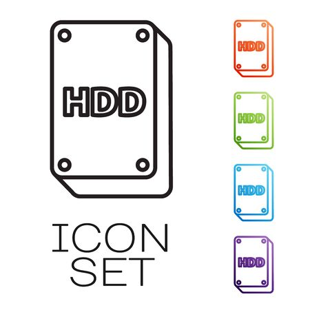 Black line Hard disk drive HDD icon isolated on white background. Set icons colorful. Vector Illustration