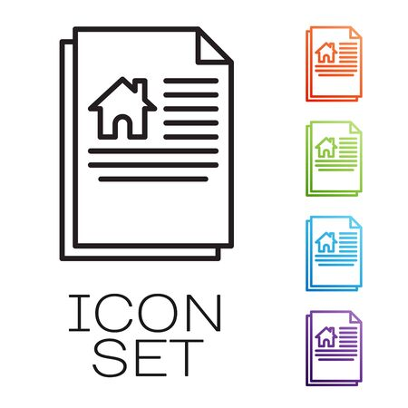 Black line House contract icon isolated on white background. Contract creation service, document formation, application form composition. Set icons colorful. Vector Illustration