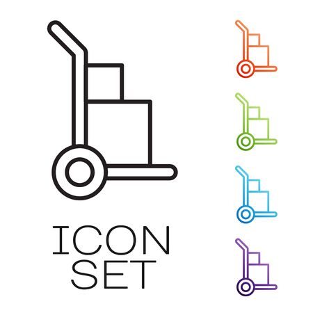 Black line Hand truck and boxes icon isolated on white background. Dolly symbol. Set icons colorful. Vector Illustration