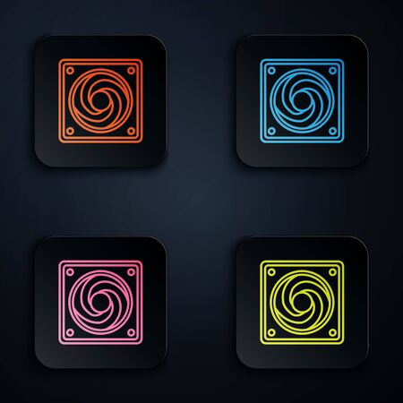 Color neon line Computer cooler icon isolated on black background. PC hardware fan. Set icons in colorful square buttons. Vector Illustration 向量圖像