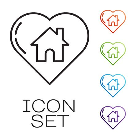 Black line House with heart shape icon isolated on white background. Love home symbol. Family, real estate and realty. Set icons colorful. Vector Illustration