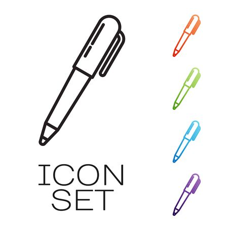 Black line Pen icon isolated on white background. Set icons colorful. Vector Illustration