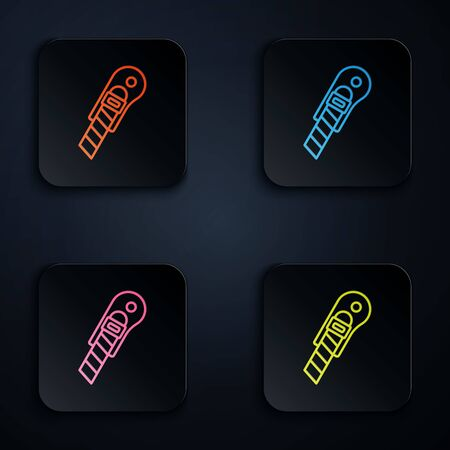 Color neon line Stationery knife icon isolated on black background. Office paper cutter. Set icons in colorful square buttons. Vector Illustration Vettoriali