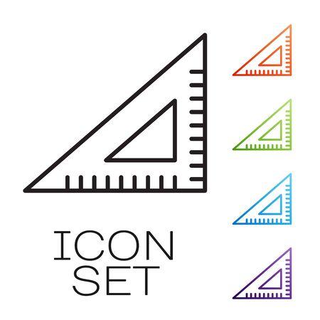 Black line Triangular ruler icon isolated on white background. Straightedge symbol. Geometric symbol. Set icons colorful. Vector Illustration