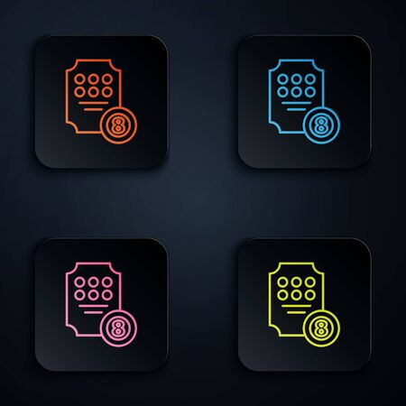 Color neon line Online slot machine icon isolated on black background. Online casino. Set icons in colorful square buttons. Vector Illustration