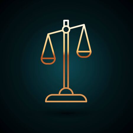 Gold line Scales of justice icon isolated on dark blue background. Court of law symbol. Balance scale sign. Vector Illustration