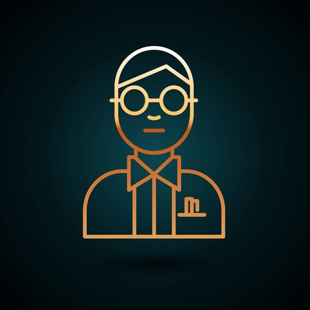 Gold line Scientist icon isolated on dark blue background.  Vector Illustration