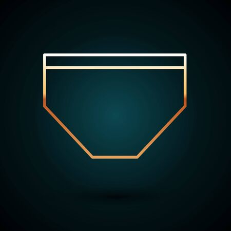 Gold line Swimming trunks icon isolated on dark blue background. Vector Illustration