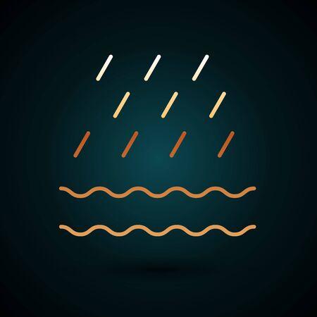 Gold line Rain and waves icon isolated on dark blue background. Rain cloud precipitation with rain drops. Vector Illustration