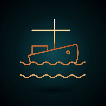 Gold line Fishing boat on water icon isolated on dark blue background. Vector Illustration