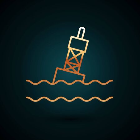 Gold line Floating buoy on the sea icon isolated on dark blue background. Vector Illustration