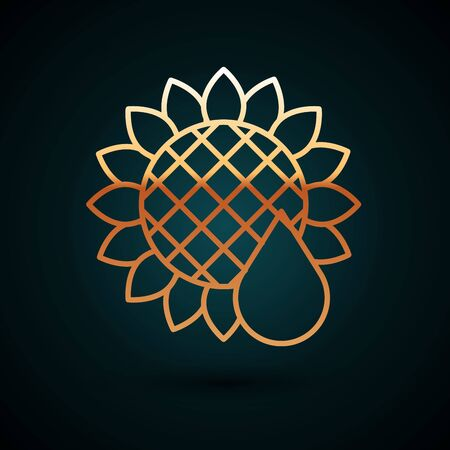 Gold line Sunflower icon isolated on dark blue background. Vector Illustration