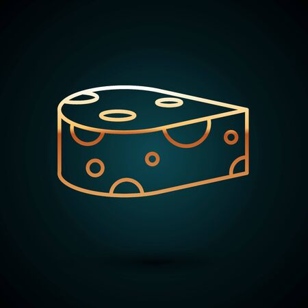Gold line Cheese icon isolated on dark blue background. Vector Illustration
