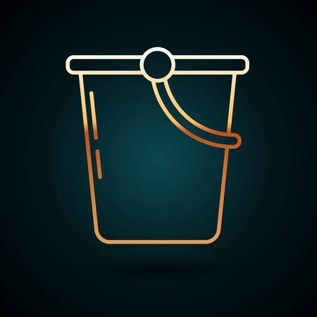 Gold line Bucket icon isolated on dark blue background. Vector Illustration Vettoriali