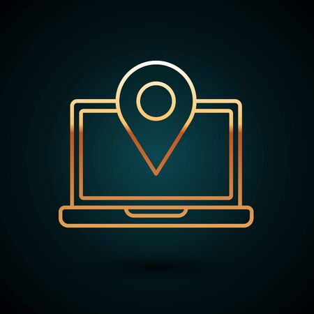 Gold line Laptop with location marker icon isolated on dark blue background. Vector Illustration