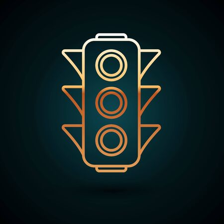 Gold line Traffic light icon isolated on dark blue background. Vector Illustration