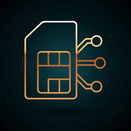 Gold line Sim card icon isolated on dark blue background. Mobile cellular phone sim card chip. Mobile telecommunications technology symbol. Vector Illustration