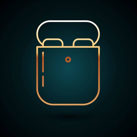 Gold line Air headphones in box icon icon isolated on dark blue background. Holder wireless in case earphones garniture electronic gadget. Vector Illustration