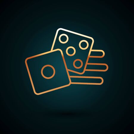 Gold line Game dice icon isolated on dark blue background. Casino gambling. Vector Illustration
