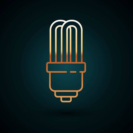 Gold line LED light bulb icon isolated on dark blue background. Economical LED illuminated lightbulb. Save energy lamp. Vector Illustration