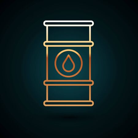 Gold line Oil barrel line icon isolated on dark blue background. Oil drum container. For infographics, fuel, industry, power, ecology. Vector Illustration Vetores