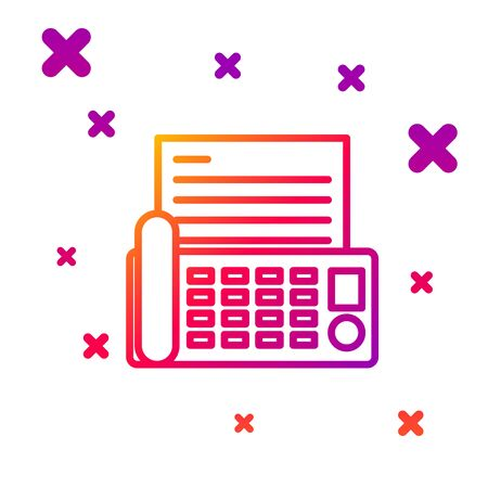 Color line Fax machine icon isolated on white background. Office Telephone. Gradient random dynamic shapes. Vector Illustration  イラスト・ベクター素材