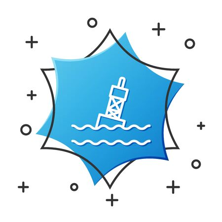 White line Floating buoy on the sea icon isolated on white background. Blue hexagon button. Vector Illustration