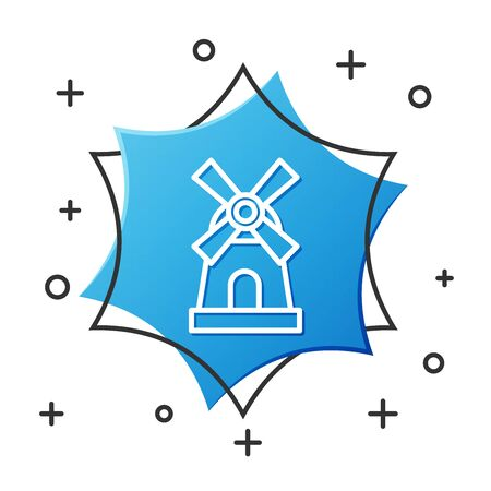 White line Windmill icon isolated on white background. Blue hexagon button. Vector Illustration Ilustração