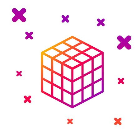 Color line Rubik cube icon isolated on white background. Mechanical puzzle toy. Rubik's cube 3d combination puzzle. Gradient random dynamic shapes. Vector Illustration Vector Illustration