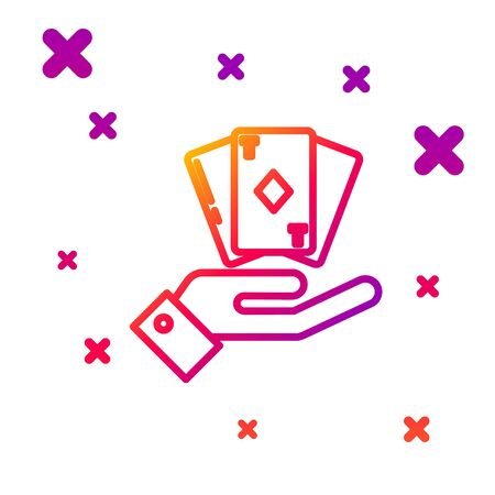 Color line Hand holding deck of playing cards icon isolated on white background. Casino gambling. Gradient random dynamic shapes. Vector Illustration