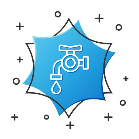 White line Water tap icon isolated on white background. Blue hexagon button. Vector Illustration